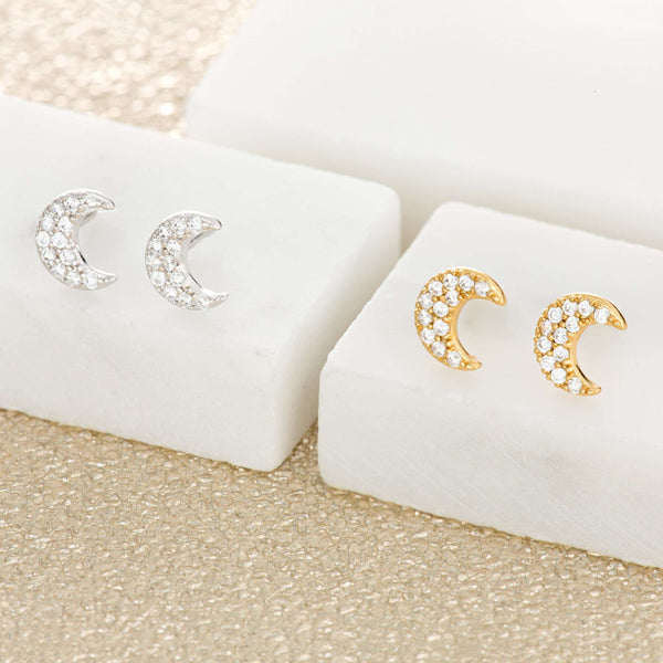 Pave Crescent Moon Stud Earrings - Scream Pretty