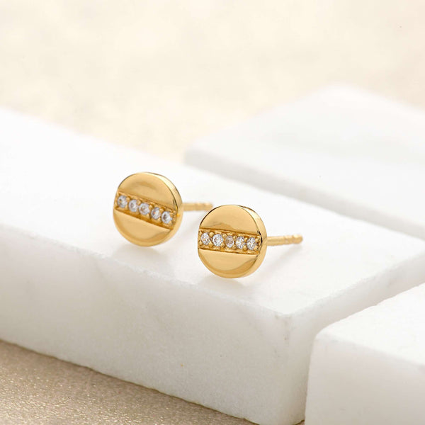 Disc with line of Sparkle Stud Earrings - Scream Pretty