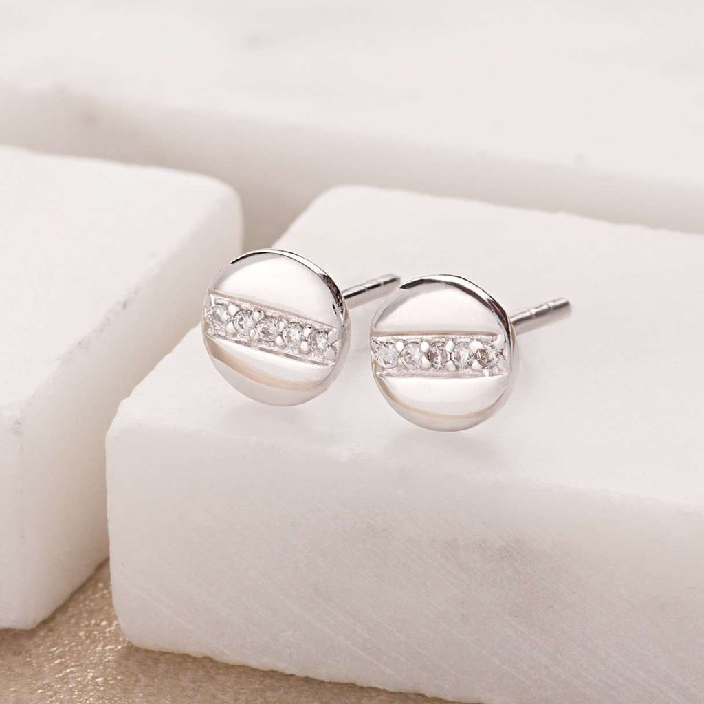 Earrings - Disc With Line Of Sparkle Stud Earrings