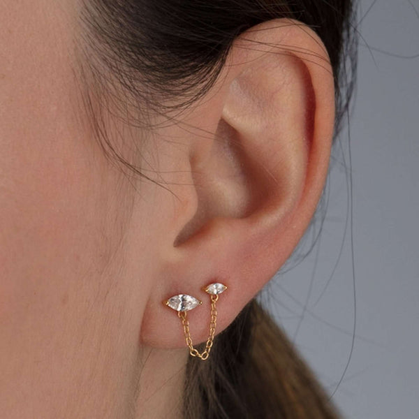 Earrings - Droplet Double Stud Earring With Chain Connector, Single Earring