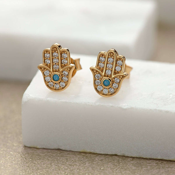 Gold Fatima Stud Earrings with Turquoise - Scream Pretty