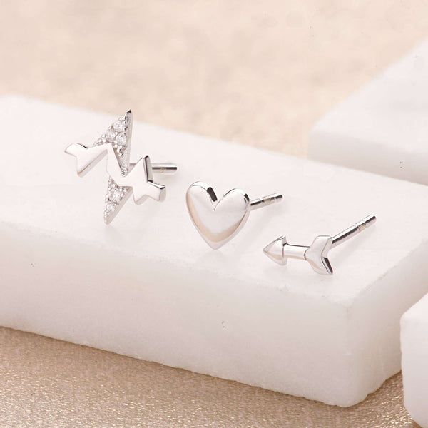 Heartbeat Set of 3 Single Stud Earrings - Scream Pretty