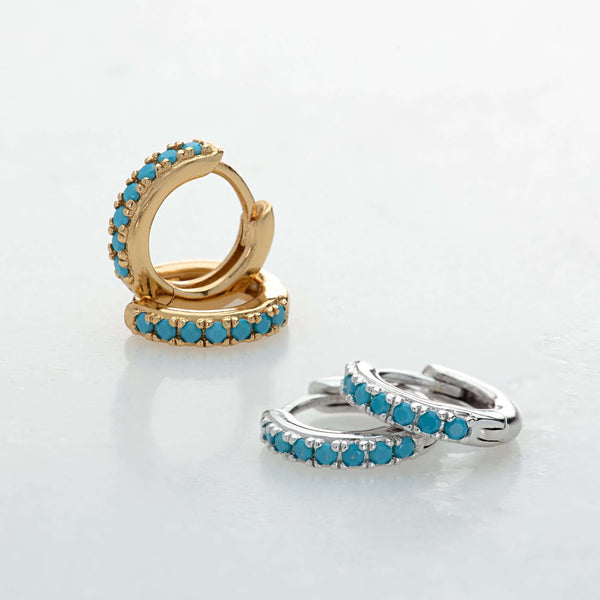 Earrings - Huggie Hoop Earrings With Turquoise Stones