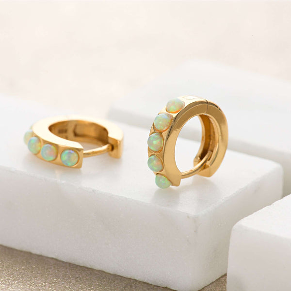 Earrings - Lime Green Opal Huggie Hoop Earrings