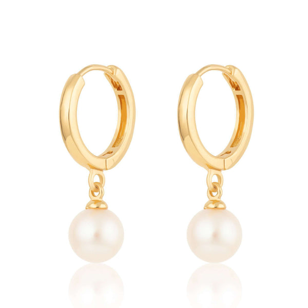 Modern Pearl Huggie Hoop Earrings - Scream Pretty