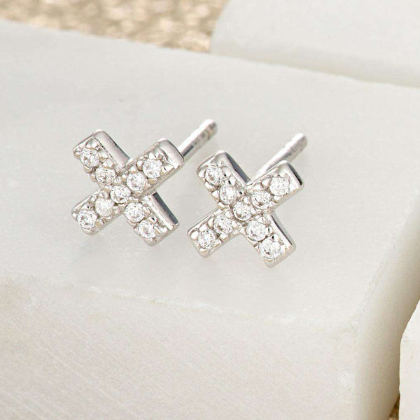 Pave Cross Stud Earrings - Scream Pretty