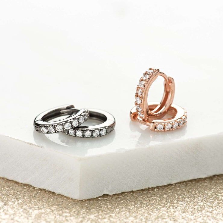 Rose Gold or Black Huggie Hoop Earrings - Scream Pretty