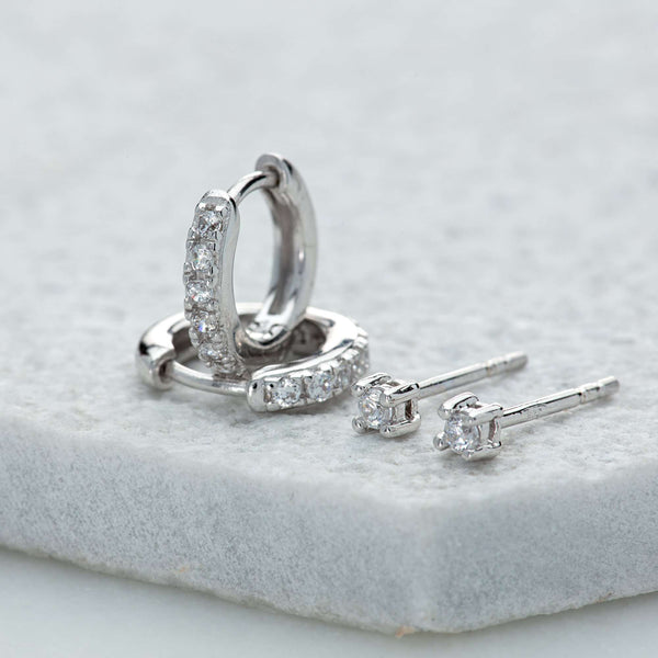 Sparkle Huggie and Tiny Stud Set of Earrings - Scream Pretty