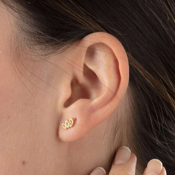 Sparkling Three Petal Stud Earrings - Scream Pretty