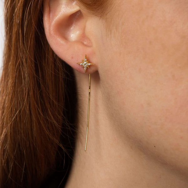 Earrings - Starburst Threader Bar Earrings