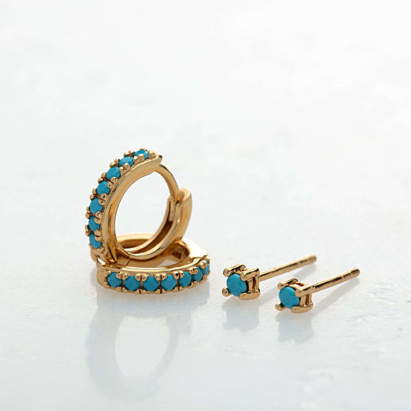 Earrings - Turquoise Stone Huggie And Tiny Stud Set Of Earrings