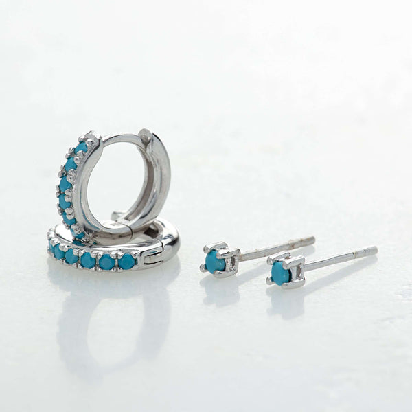 Turquoise Stone Huggie and Tiny Stud Set of Earrings - Scream Pretty
