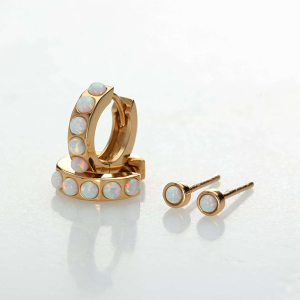 Earrings - White Opal Huggie And Tiny Stud Set Of Earrings