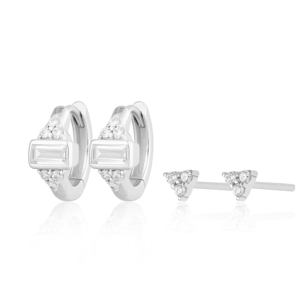 Audrey Huggie and Trinity Stud Set of Earrings