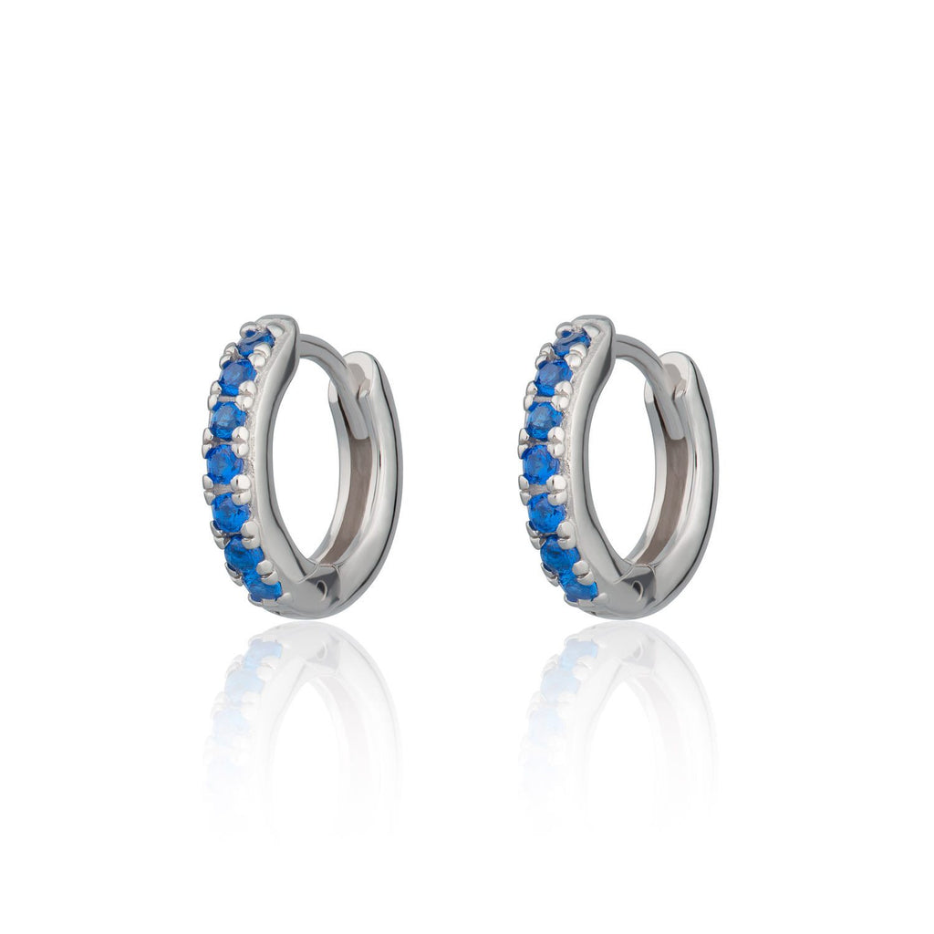 Huggie Hoop Earrings with Blue Stones