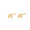Gold Plated Solder Dot 3 Bead Stud Earrings by Scream Pretty