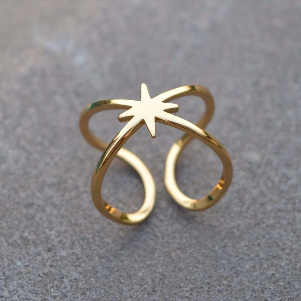 Ring - Double Band Adjustable Star Ring