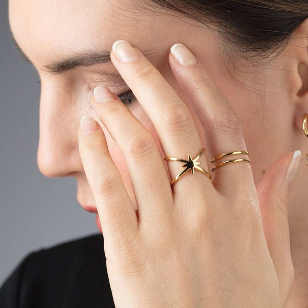 Double Band Adjustable Star Ring - Scream Pretty