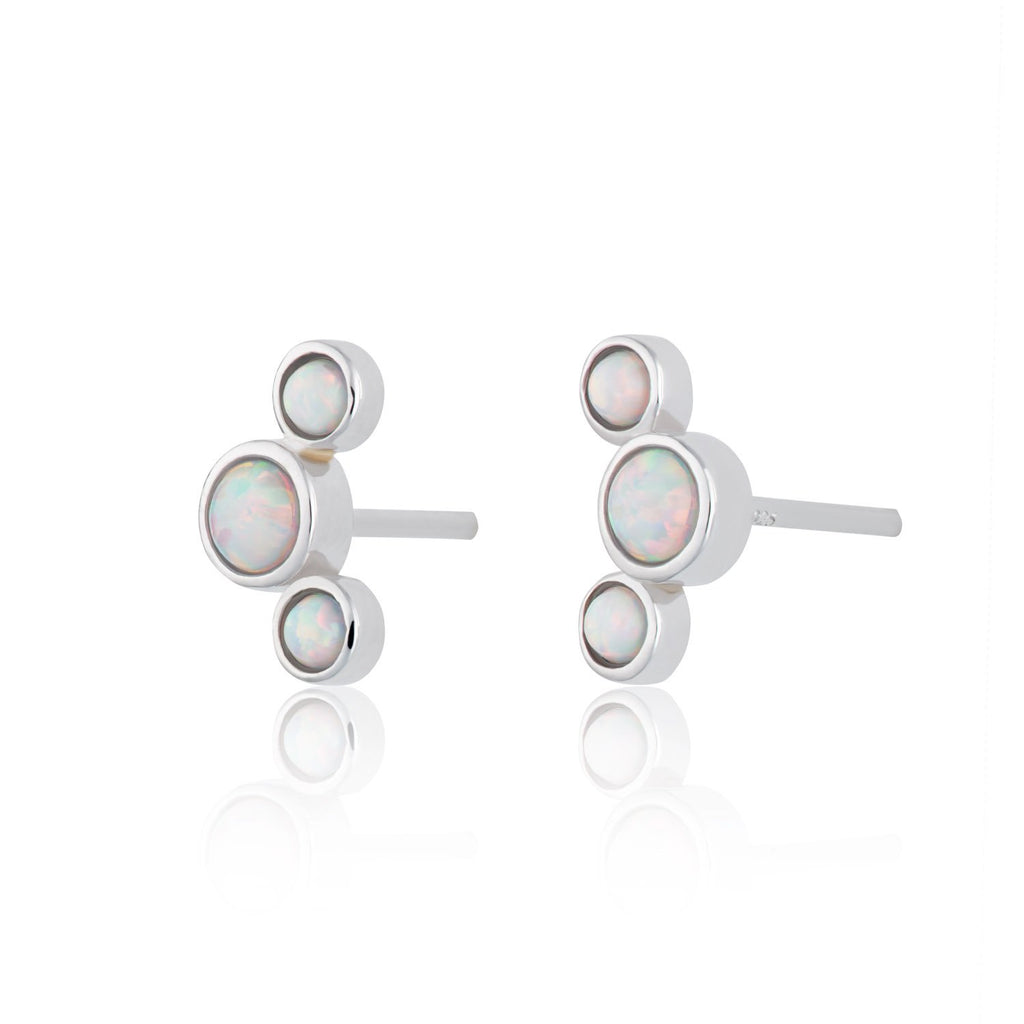 Opal Cluster Stud Earrings