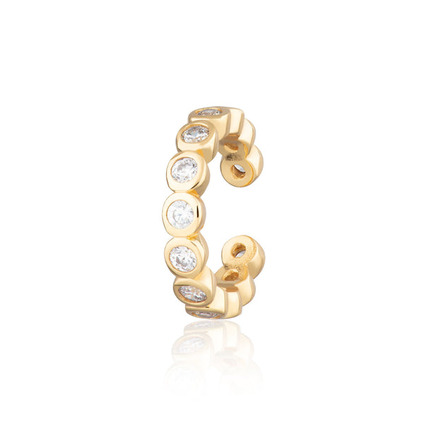 Bezel Single Ear Cuff with Clear Stones