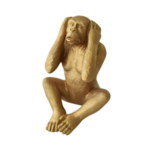 gold monkey decor, covering ears, decor for home, cozy home dubai