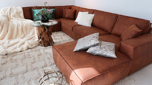 large sofa in cognac color in leather
