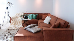 sofa for large places in cognac leather dubai