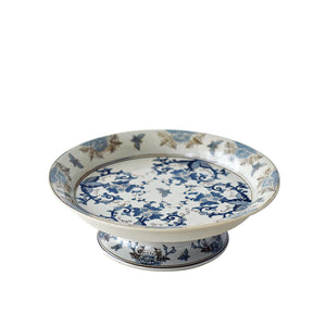 asian design dish, blue flower motif, made in Europe