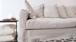 loose cover linen sofa, natural color