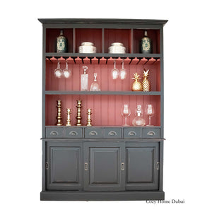 bar cabinet, black with red, drinks holder, cozy home Dubai