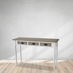 entryway console, wood furniture, two tone console