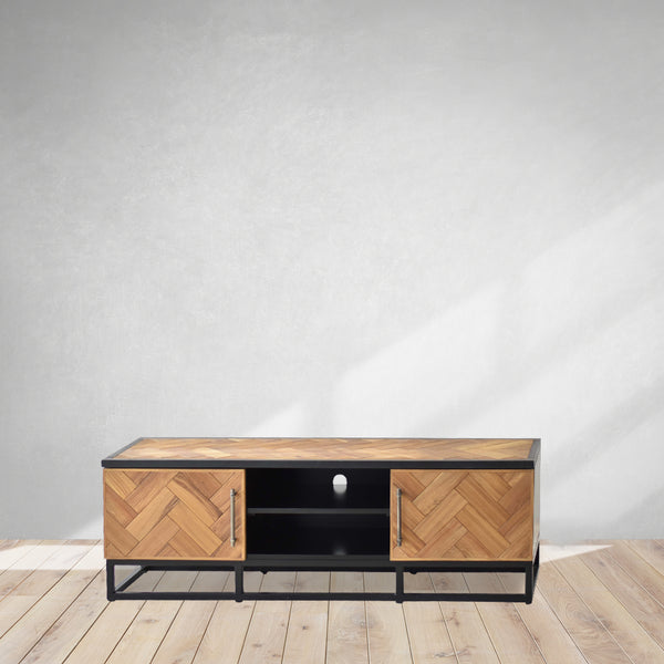 fishbone design tv table, industrial tv tables