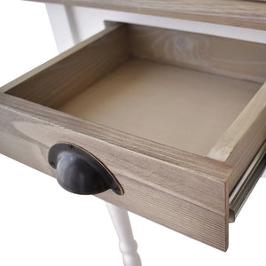console with soft close drawers