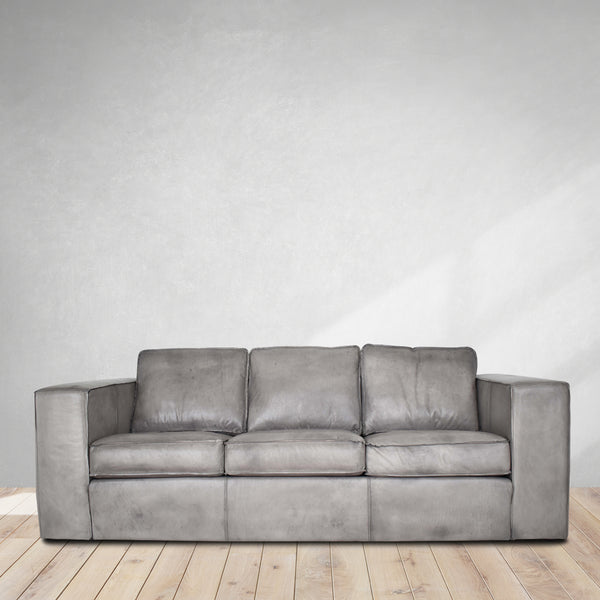 vintage grey aniline sofa, leather