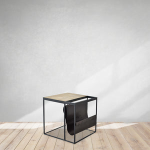 oak side table with magazine holder