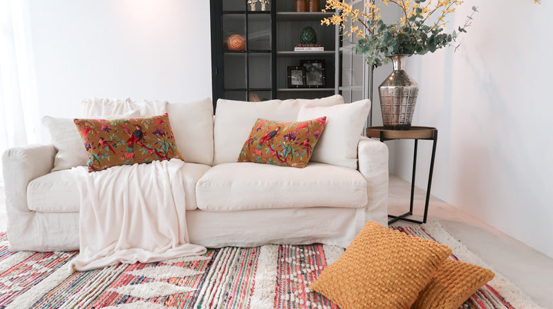 white linen sofa, homely feeling dubai