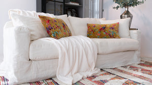 Belgian 3 Seater Linen Sofa in White
