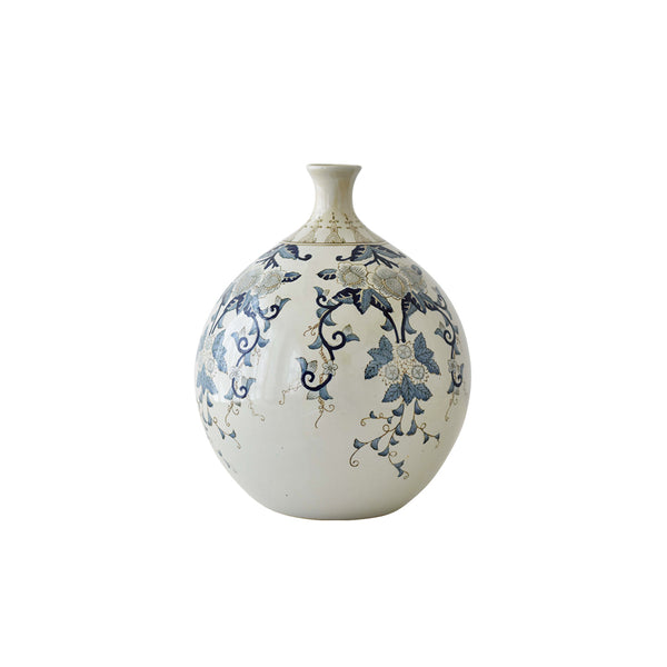large decor vase, blue with flowers asian design, home decor