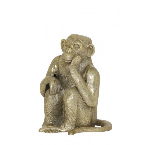 Monkey Decor Pose in Bronze-Cozy Home Dubai