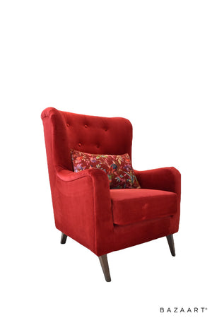 club chair, red velvet