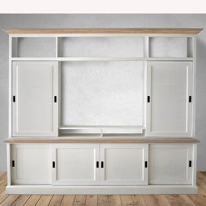 tv units in dubai, white with oak and sliding door for tv
