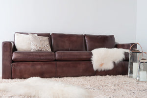 real leather sofas, cognac color