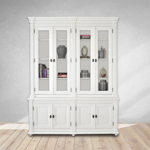 white cabinet with books and storage