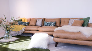 cognac leather sofa with ottoman in dubai