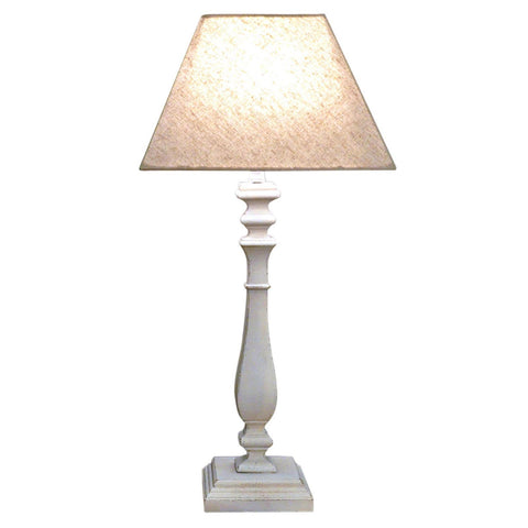 Table Lamp With Turned Wood Candlestick Style Base - Hessian Fabric Shade In White Or Grey