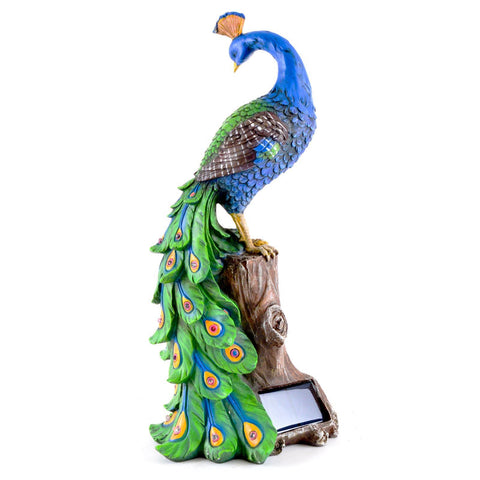 Attractive ... Solar Peacock Outdoor Garden Ornament / Decoration In Resin With Red  Glowing Night Lights ...