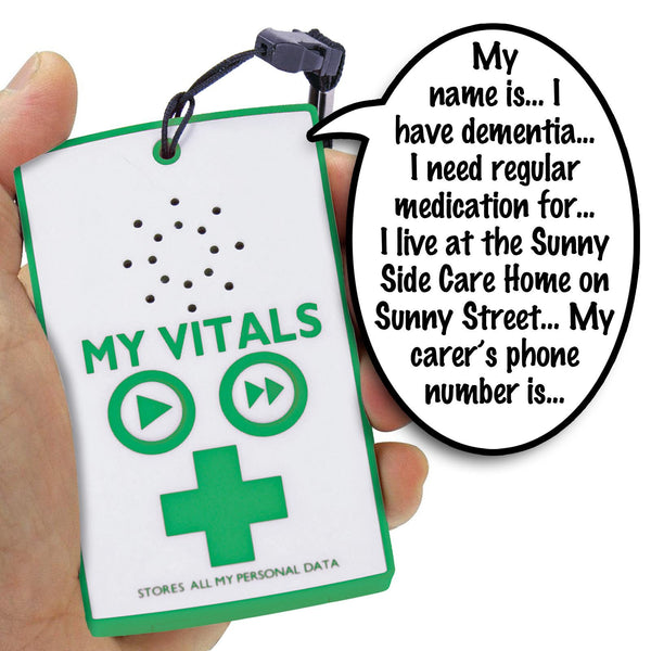 My Vitals Digital Medical Memo Recorder - Recording & Playback for Allergy Info / Elderly Care