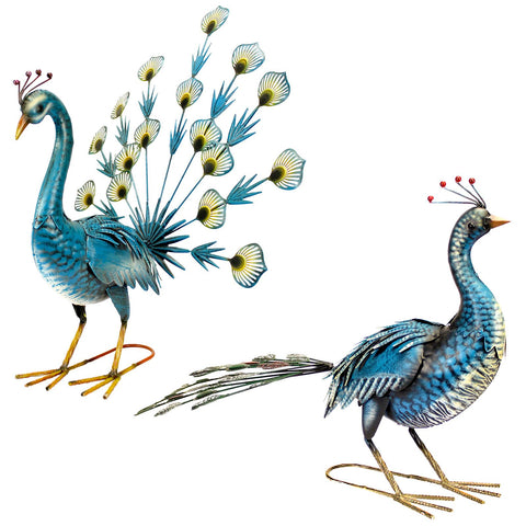 Blue Painted Metal Peacock Garden Ornaments