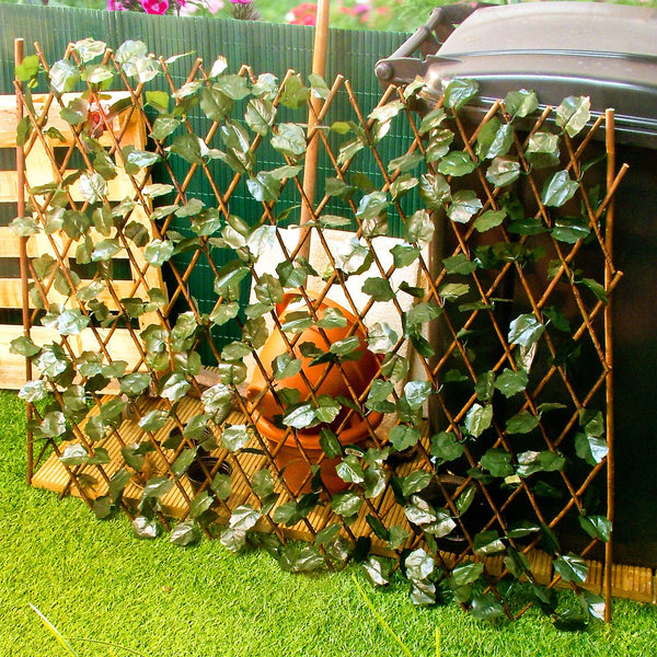 Expandable Trellis With Leaves - Extends To 2m Long Garden Wooden Screen