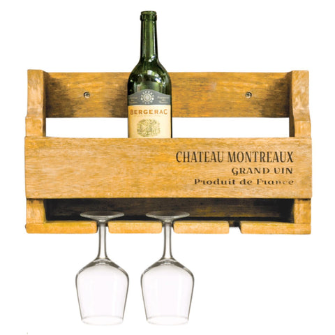 Wooden 5 or 10 Bottle Wine Rack Glass Rustic Vintage Country Wall Mounting Mountable